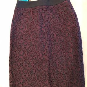 NWOT Loft pencil skirt with dark maroon lace.